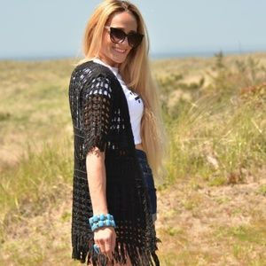 Top BLACK CROCHET CARDIGAN vest